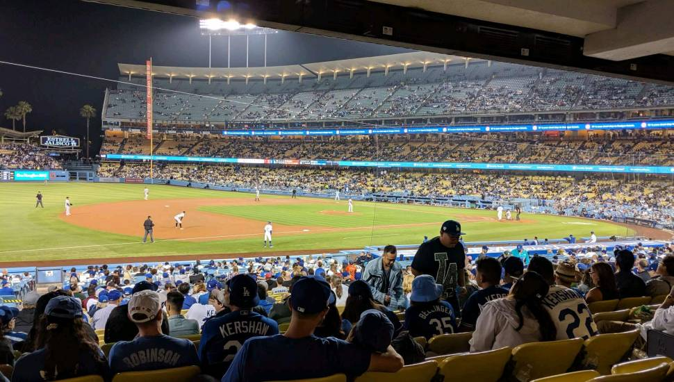 Dodger Stadium,  Section <strong>203</strong>, Row <strong>5</strong>, Seat <strong>2</strong>