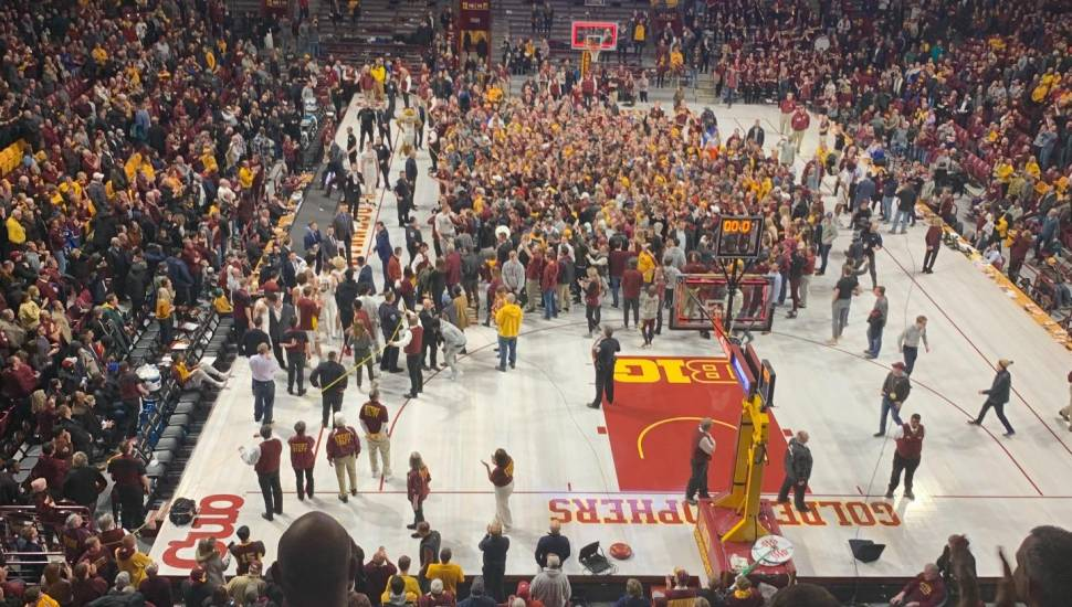 Williams Arena,  Section <strong>Upper Compton Stand</strong>, Row <strong>K</strong>, Seat <strong>123</strong>