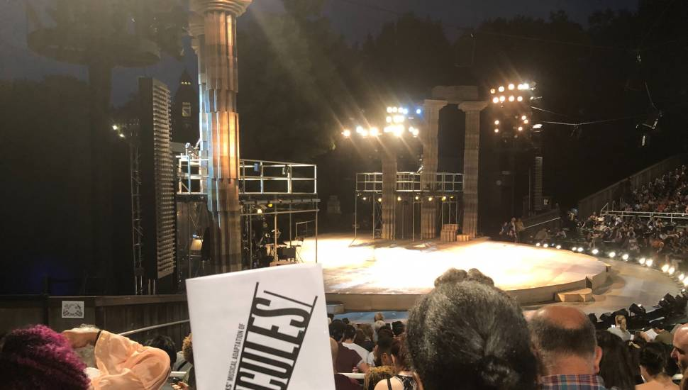 The Delacorte Theater in Central Park,  Section <strong>4</strong>, Row <strong>13</strong>, Seat <strong>23</strong>