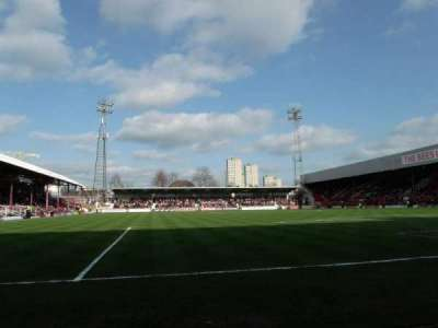 Griffin Park, section: Brook Road Terrace, row: Front