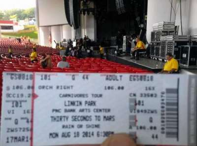 PNC Bank Arts Center, section: 101, row: Q, seat: 44