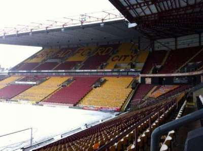 Valley Parade, section: A, row: X, seat: 5