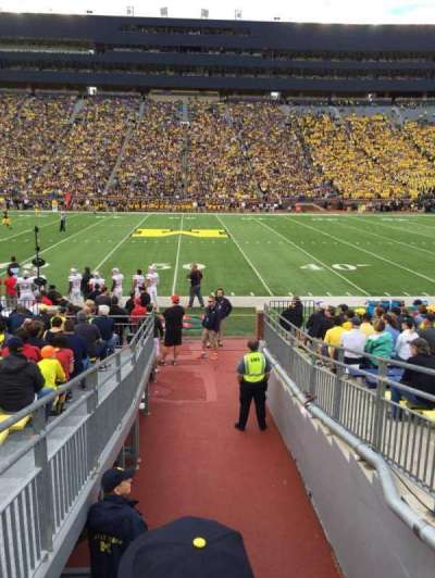 Michigan Stadium, section: 1, row: 16, seat: 13
