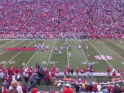 Razorback Stadium, section: 104, row: 27, seat: 33