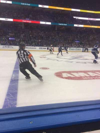 Amalie Arena, section: 117, row: A, seat: 4