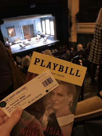 Hudson Theatre, section: Dress Circle, row: F, seat: 3
