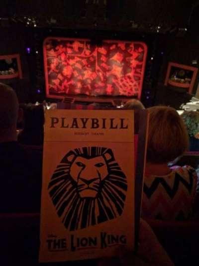 Minskoff Theatre, section: MEZZ, row: L, seat: 129