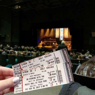Music Hall at Fair Park, section: B-REAR, row: DD, seat: 1