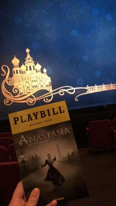 Broadhurst Theatre, section: Orchestra Left, row: F, seat: 1