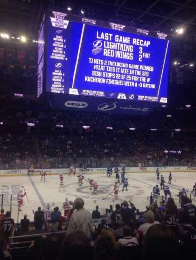 Amalie Arena, section: 102, row: V, seat: 11