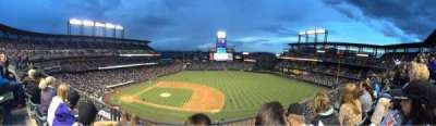 Coors Field, section: L321, row: 2, seat: 15