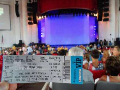 PNC Bank Arts Center, section: 102, row: 15, seat: 2