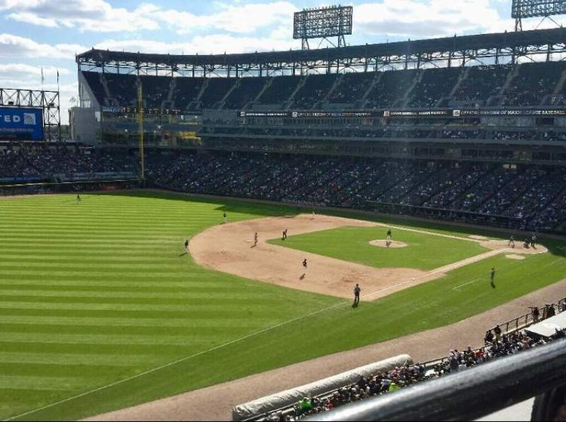 Seating view for Guaranteed Rate Field Section 348 Row 1 Seat 12