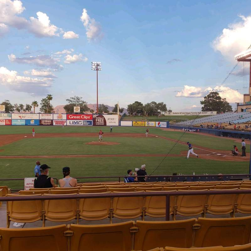 Seating view for Cashman Field Section 8 Row L