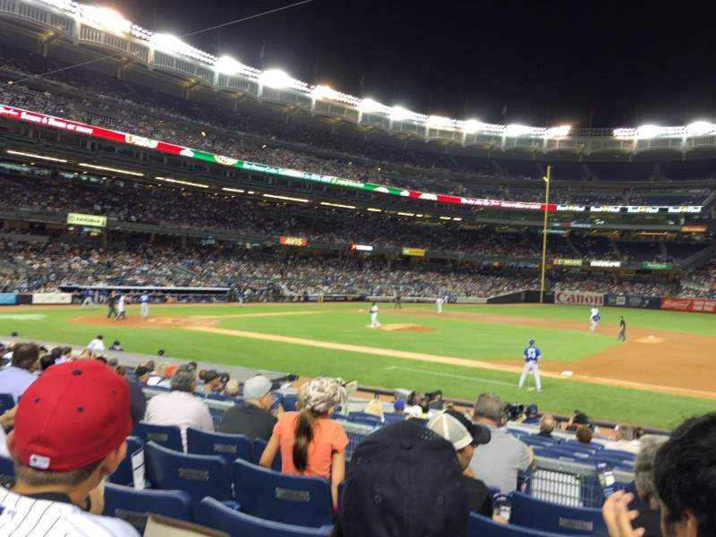 Seating view for Yankee stadium Section 115 Row 16 Seat 1