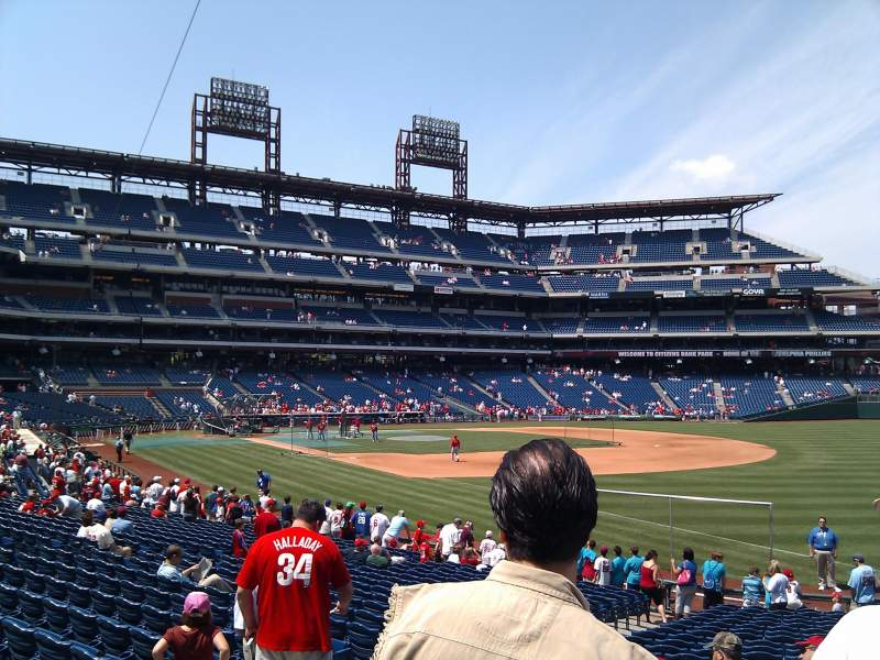 Seating view for Citizens Bank Park Section 110 Row 25 Seat 10