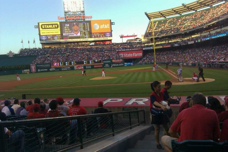 Seating view for Angel Stadium Section F114 Row H Seat 1