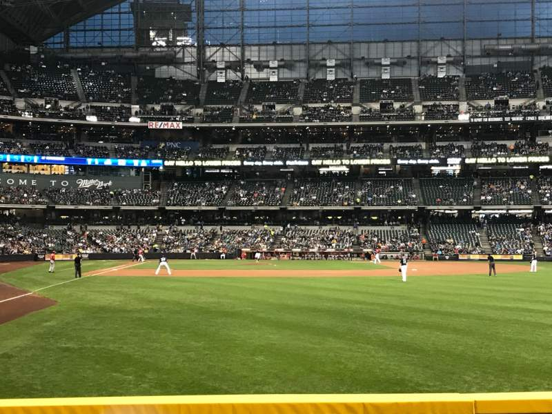Seating view for American Family Field Section 104 Row 1 Seat 21