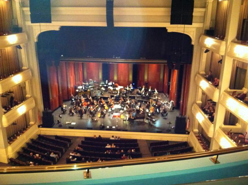 Seating view for Bass Performance Hall Section Lower Gallery Row B Seat 28