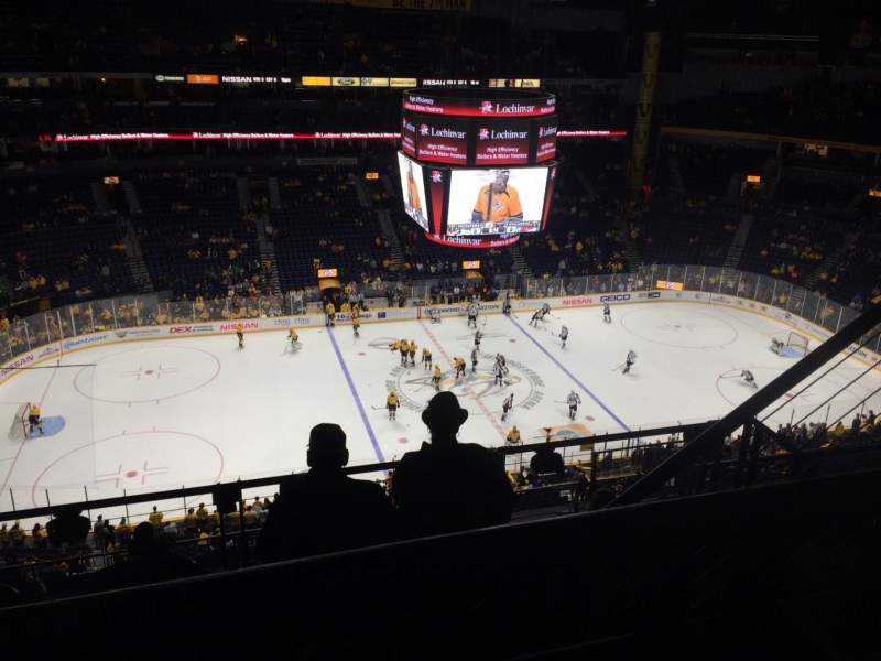 Seating view for Bridgestone Arena Section 308 Row G Seat 3-4