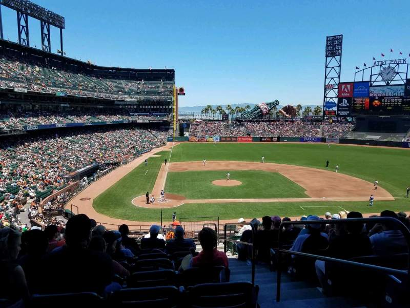 Seating view for Oracle Park Section 211 Row K Seat 2