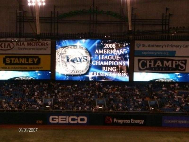 Tropicana Field, section: 313, row: L, seat: 9