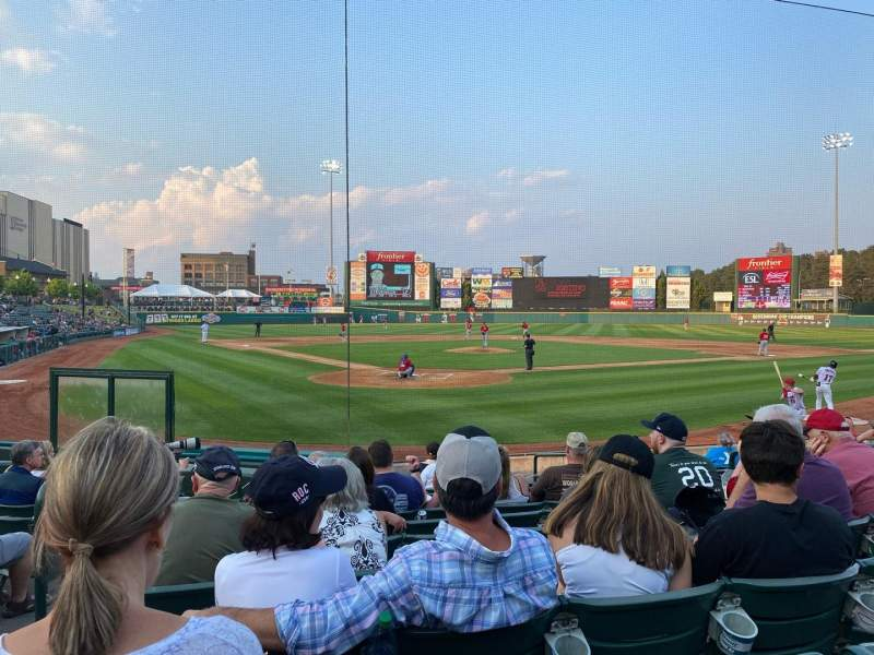 Seating view for Frontier Field Section 114 Row M Seat 3