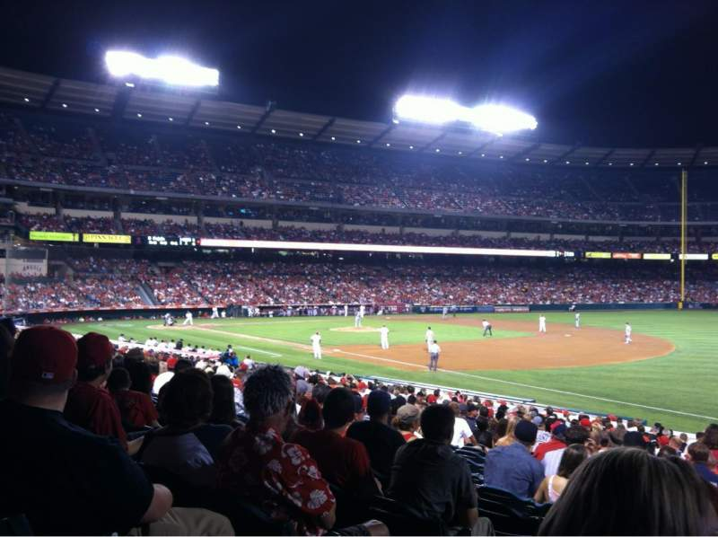 Seating view for Angel Stadium Section F129 Row Z Seat 2