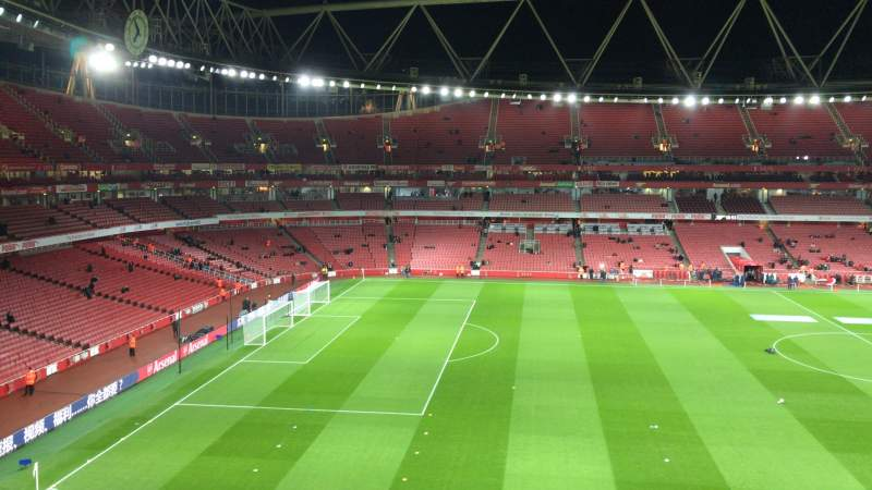 Seating view for Emirates Stadium Section 114 Row 1 Seat 662