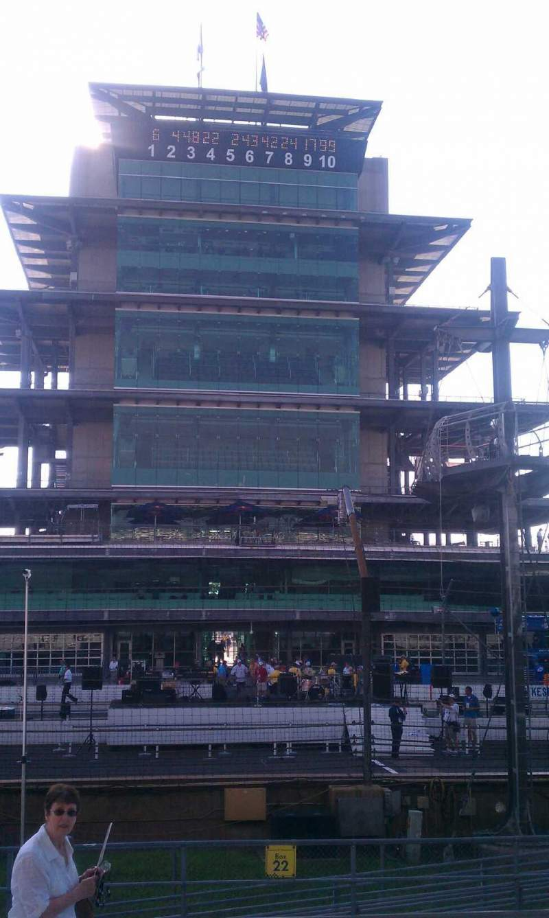 Seating view for Indianapolis Motor Speedway Section paddock box 22 Row M Seat 4-3
