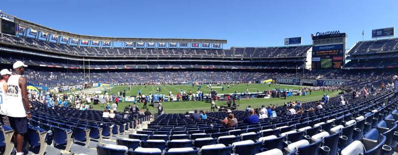 Seating view for Qualcomm Stadium Section F34 Row 21 Seat 3