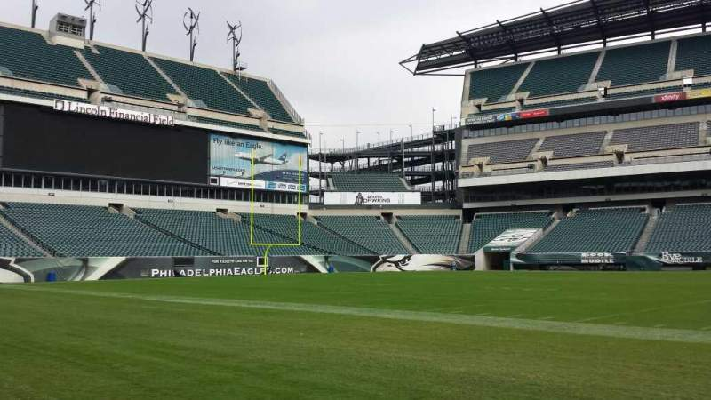 Seating view for Lincoln Financial Field Section Sideline Row Field Seat Player Ben