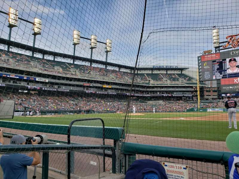 Seating view for Comerica Park Section 119 Row 3 Seat 16
