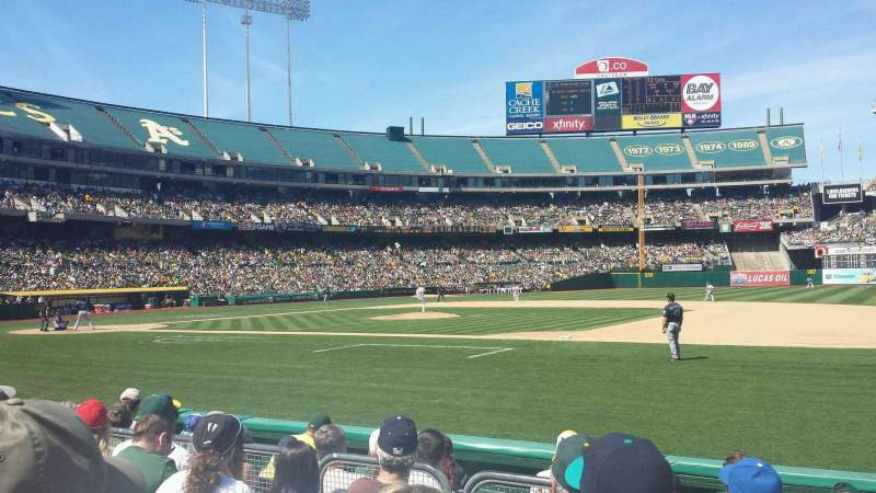 Seating view for Oakland Alameda Coliseum Section 110 Row 5 Seat 2