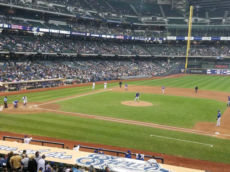 Seating view for Miller Park Section 212 Row 1 Seat 2