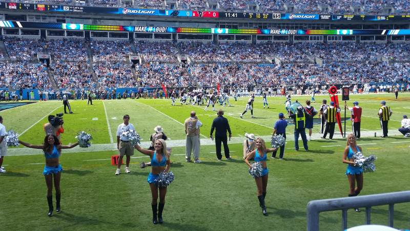 Seating view for Bank of America Stadium Section 115 Row 1 Seat 1