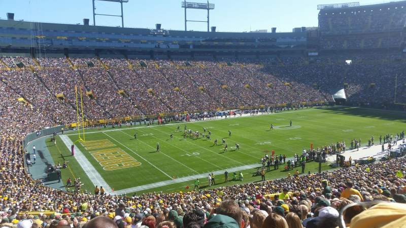 Seating view for Lambeau Field Section 110 Row 54 Seat 18
