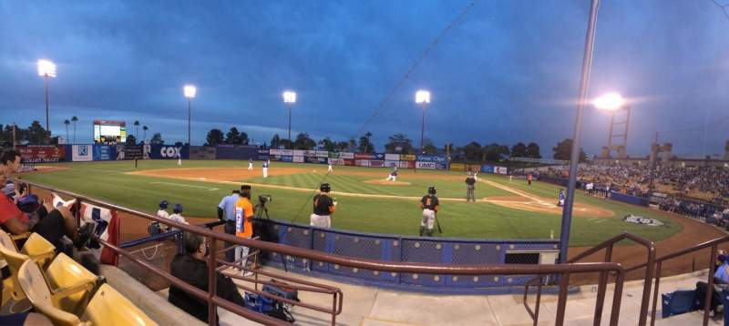 Seating view for Cashman Field Section 8 Row b Seat 3