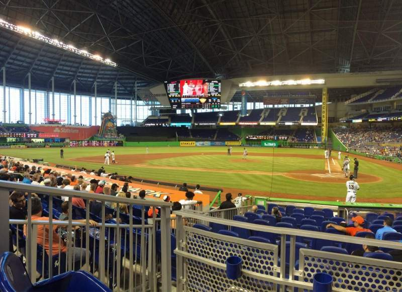 Seating view for Marlins Park Section 18 Row b  Seat 10