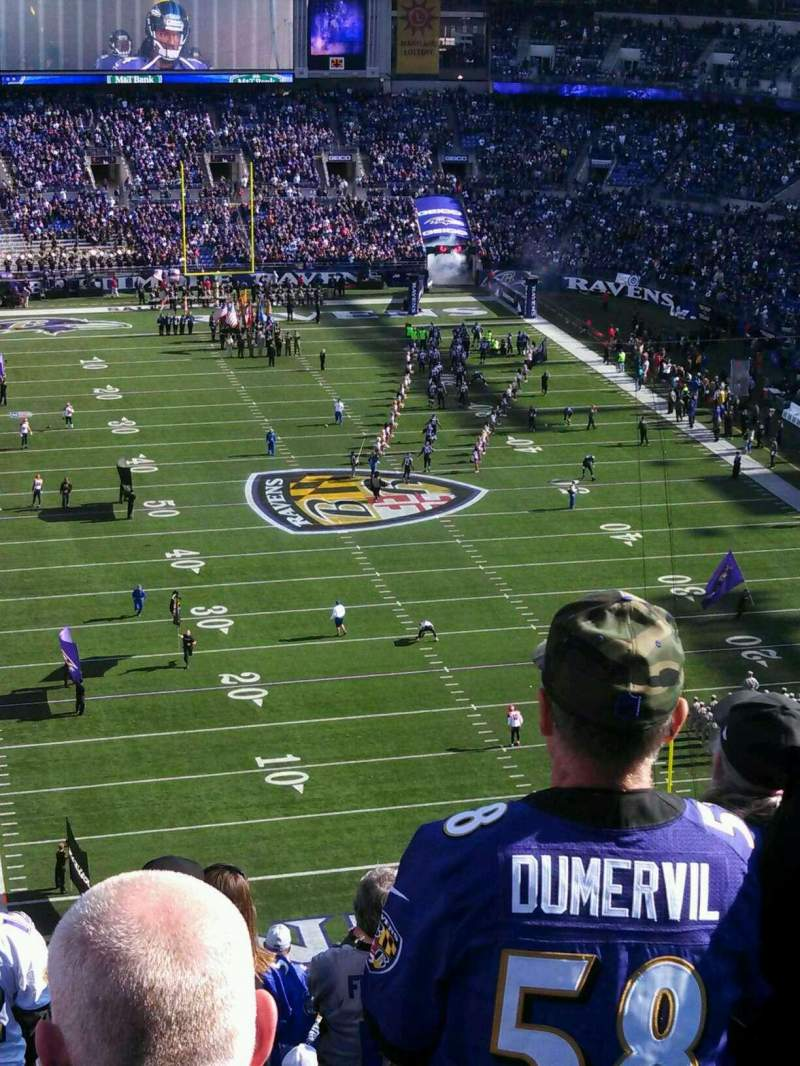 Seating view for M&T Bank Stadium Section 542 Row 19 Seat 13
