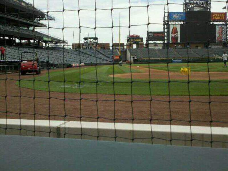 Seating view for Coors Field Section 127 Row A1 Seat 9