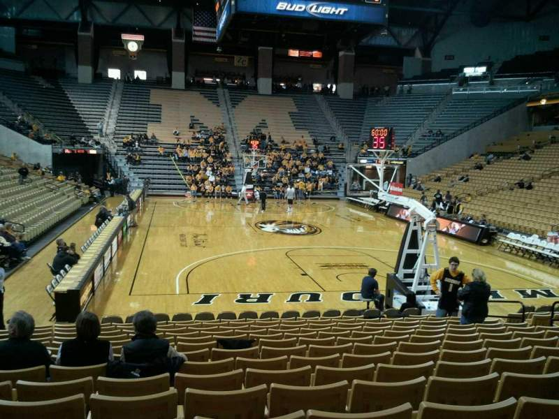 Seating view for Mizzou Arena Section 110 Row 15 Seat 13
