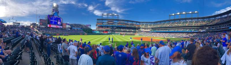 Seating view for Coors Field Section 143 Row 8 Seat 1