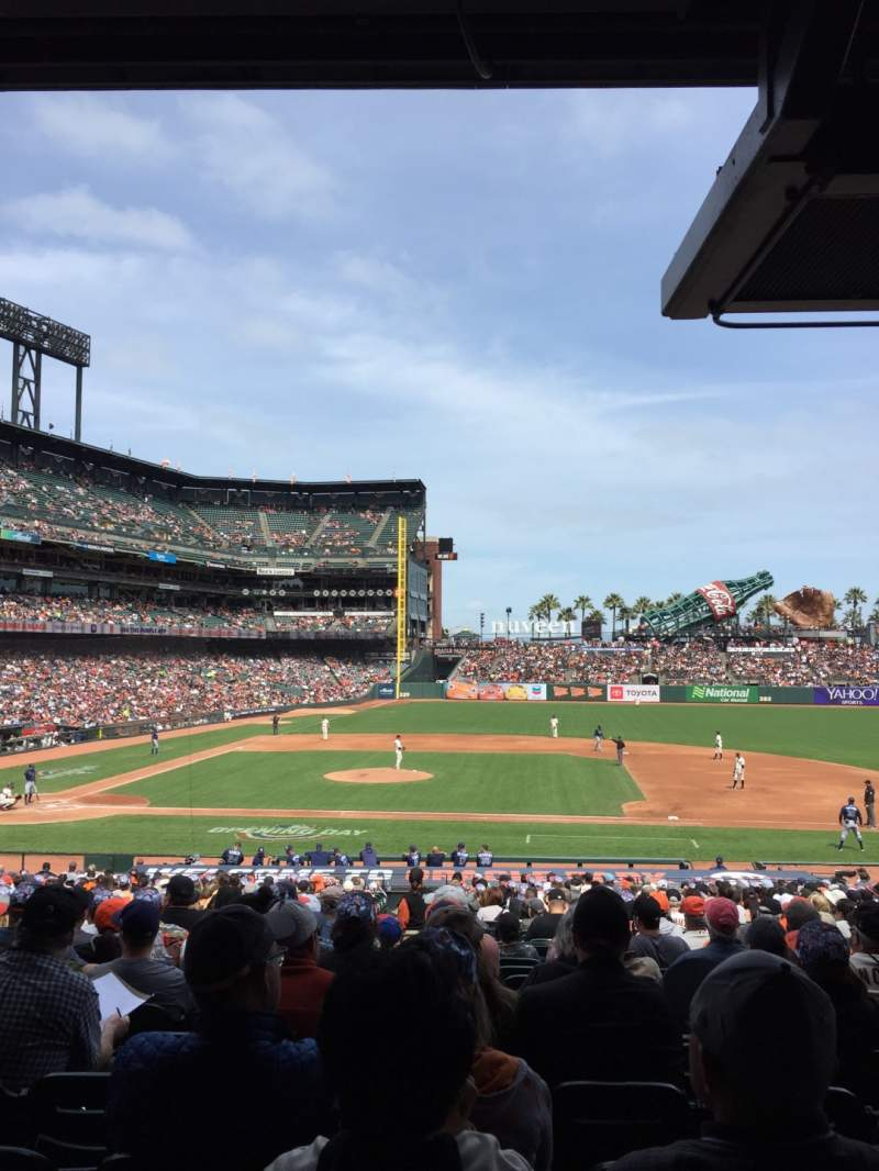 Seating view for Oracle park Section 108 Row 33 Seat 11