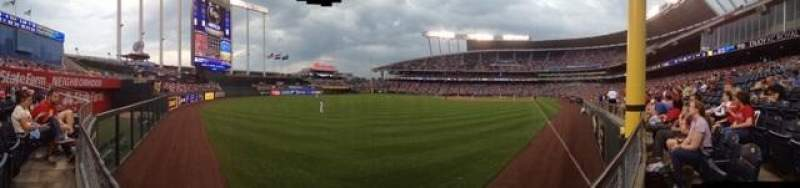 Seating view for Kauffman Stadium Section 107 Row J Seat 14