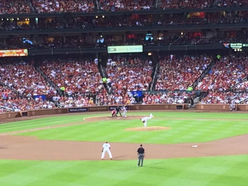 Seating view for Busch Stadium Section Coca-Cola Scoreboard Patio Row 3 Seat 38