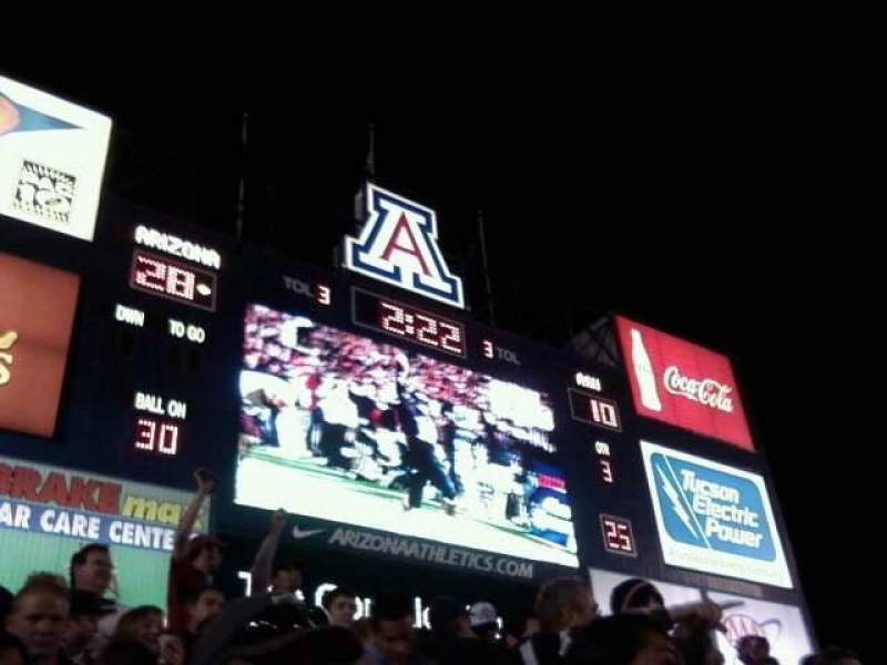 Arizona Stadium, section: 27, row: 23, seat: 10