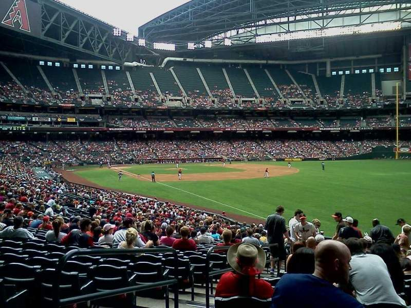 Seating view for Chase Field Section 108 Row 34 Seat 17