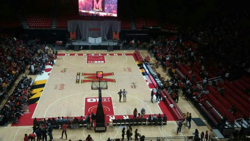 Seating view for Xfinity Center (Maryland) Section 121 Row 21 Seat 17