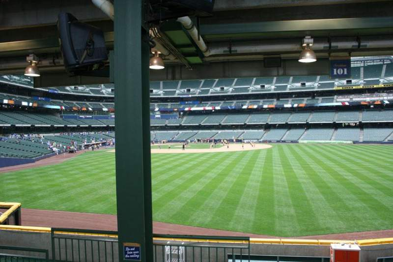 Seating view for Miller Park Section 101 Row 5 Seat Bench seat